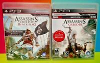Assassin's Creed III + IV Black Flag - Game Lot Sony PlayStation 3 PS3 Tested