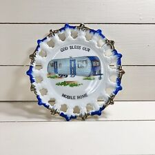 """New listing Collector Porcelain Plate """"God Bless Our Mobile Home"""" Pierced"""