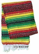 FALSA Mexican Blanket - RASTA - 4' x 6' Yoga Mat Southwest Fiesta