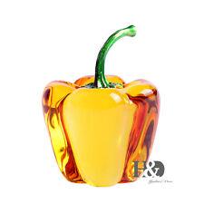 Yellow Crystal Paperweights 3D Glaze Chili Shape Display Glass Wedding Xmas Gift