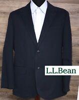 L.L. Bean Men's Navy Blue Cotton Two Button Thick Blazer Sport Coat Jacket 42R