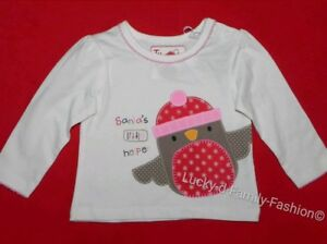 NEW baby girl TU Christmas Robin Santas Little Helper top Age Up to 3 3-6 Months