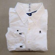 Polo Ralph Lauren Men's Skull and Crossed Bones Button Down Shirt-White-3XB
