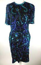 Vtg Stenay Silk Beaded Sequin Party Cocktail Formal Dress Size Medium