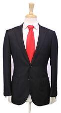 * RING JACKET * Japan Solid Black Herringbone 2-Btn Handmade Slim Wool Suit 36S