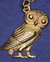 Greek Owl (17mm) Pendant - Gold Plated - with information card *[GOPG]
