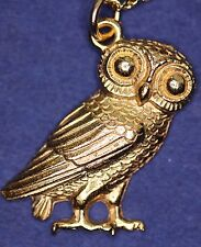 Greek Owl (24mm) Pendant - Gold Plated - with information card *[GOPG]