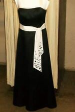 David's Bridal Bridesmaids Dress Gown Sateen Halter Black/Ivory F11521 - Size 10