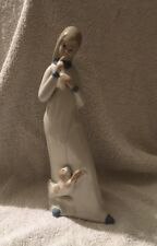 VINTAGE CASADES PORCELAIN FIGURE OF LADY WITH CAT - SPAIN