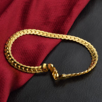 Luxury 18K Gold Plated Flat Curb Chain Men's Bracelet Wristband Bangle Jewelry