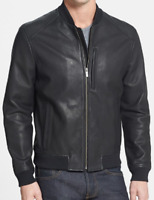 Cole Haan Faux Leather Bomber Jacket Full Ribbed Mens Black UK Size L *REF45