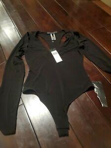 New Bcbg max azria Hilda Black Bodysuit. Long sleeve SZ  Small.