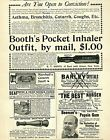 1896 8 Ads Antique Snuff Crystals Breathing Inhaler Deaf Quack Apothecary 5138