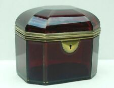 Antique Ruby Red Glass Hinged Bohemian Casket Trinket Box 8 Sided Dome Top