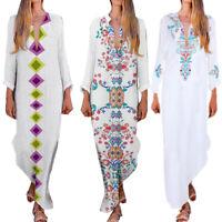 Bohême Femme Robe Longue Kaftan Casual Manches Longues Plage Robe Vacances 25
