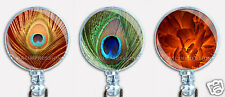 Badge Reel Retractable ID Name Card Lanyard Holder Bird Peacock Feathers