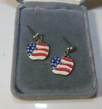 New listing Vintage Patriotic Red White Blue Apple Flag Gold t Earrings Usa Stars Stripes