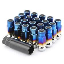 Titanium Blue Forged Steel Open Close Cap Tuner Lug Nuts M12 x 1.50 Thread 20Pcs