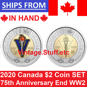 2020 $2 Canada Color No Colored 75th Anniversary End of World War 2 WWII SET UNC