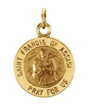 14K SOLID Gold Tiny 12mm St St. Saint Francis of Assisi Charm Pendant AnimalLOVE