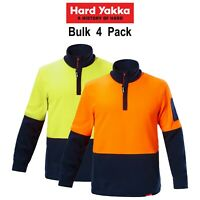 Mens Hard Yakka Work Jumper Hi-Vis 4 Pack Brushed Fleece 1/4 Zip Winter Y19330