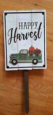 "New Wood Autumn Yard Sign Green Truck ""Happy Harvest"" 26"" x 10"""