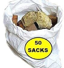 50 x Tough Woven Polypropylene Builder Rubble Sacks Bags. ** ULTRA STRONG **