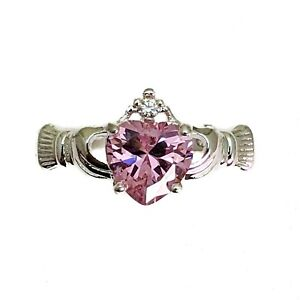 Silver Plated Claddagh Heart Ring With Pink Cubic Zirconia Various Sizes