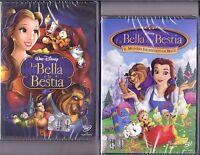 2 DVD Disney El Bella E La Bestia ~ 1 + 2 ~ Il Mondo Encantado Por 1992 1998