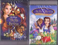 2 Dvd Disney LA BELLA E LA BESTIA ~ 1+2 ~ IL MONDO INCANTATO DI BELLE 1992 1998