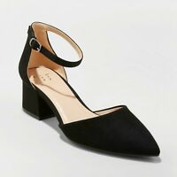 Women's Natalia Microsuede Pointed Toe Block Heeled Pumps - A New Day