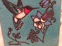 "Vintage Italian Teissadre turquoise Hummingbird textured etched 6"" square tile"