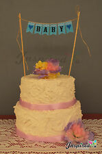 BABY Shower Hessian Cake Topper Mini Burlap Bunting Banner Lace Birthday Party