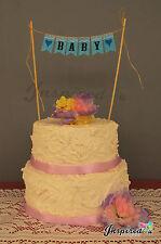 BABY Shower JUTA CAKE TOPPER MINI Burlap Bunting Banner Pizzo Festa di Compleanno