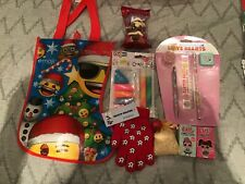 Girls emoji Christmas stocking filled with toys age 5+