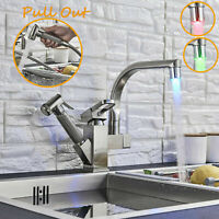 LED Swivel Spout Kitchen Sink Faucet Pull Out Sprayer Single Hole Mixer Tap NEW