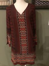 Skies Are Blue Red NavyPatterned Sheath Dress Bell Sleeves 8 New
