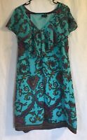 Nicole Miller Teal Paisley Print Lined Dress Size 12 Ruffled Neckline *stained*