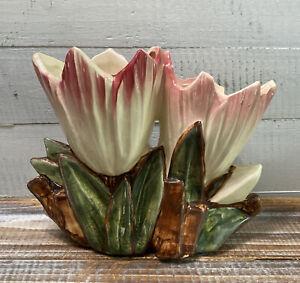 Vintage Mid Century McCoy Pottery Double Tulip Cream & Pink Flower Vase Planter