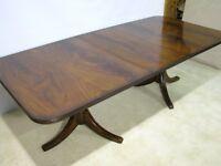 "Maitland-Smith Double Pedestal Flame Mahogany Dining Table 92 1/2"" Long"