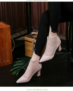 High Heel Ankle Boots Shoes Womens Fashion Leather Fishnet Mesh Pointed Toe