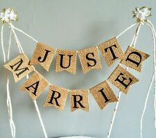 Just Married Bunting Cake Topper Hessian Burlap Vintage Wedding