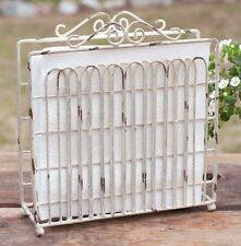 New listing Country Primitive Metal Garden Gate Napkin Holder Rustic White