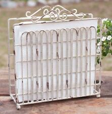 Country Farmhouse Metal Garden Gate Napkin Holder Rustic White