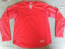 St Johns Red Storm Rawlings L/S Pullover Shirt, Youth Large,  Embroidered