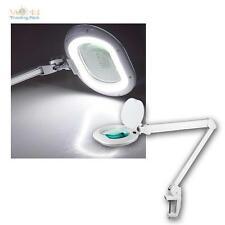 LED Lámpara con lupa 800lm REGULABLE Luz de lugar trabajo Pinza para mesa