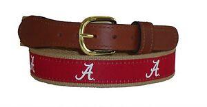 ZEP PRO University Alabama Crimson Tide Leather Canvas Embroidered Ribbon Belt