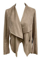 Vigoss Womens Taupe Faux Suede Motorcycle Jacket Coat W/ Pockets Size Medium