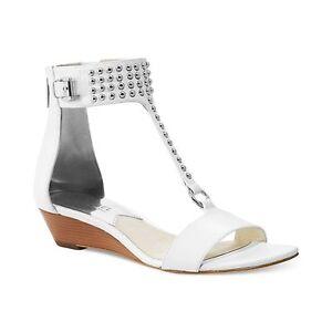 NIB  MSRP $150 - MICHAEL KORS Celena Wedge Sandals w/ Mini Studs, White, Leather