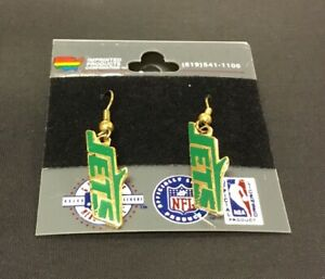 New Vintage New York Jets NFL Pair of Earrings New Jersey Gold Green